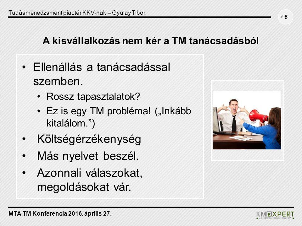 A kisvállalkozás nem kér a TM tanácsadásból Ellenállás a tanácsadással szemben.
