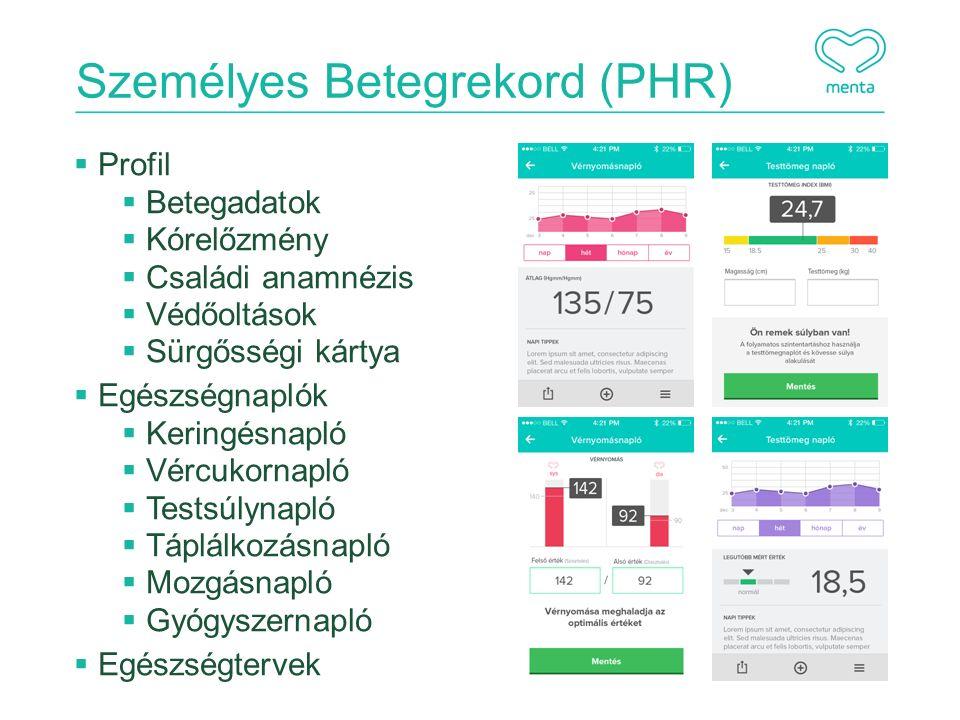 Személyes Betegrekord (PHR)  Profil  Betegadatok  Kórelőzmény  Családi anamnézis  Védőoltások  Sürgősségi kártya  Egészségnaplók  Keringésnapló  Vércukornapló  Testsúlynapló  Táplálkozásnapló  Mozgásnapló  Gyógyszernapló  Egészségtervek