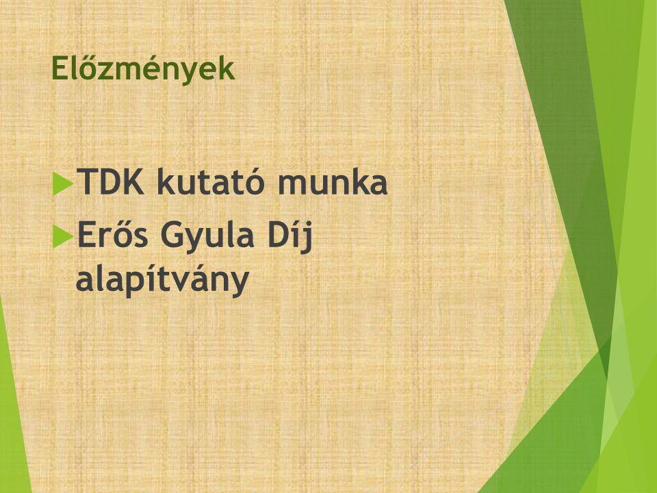 Előzmények  TDK kutató munka  Erős Gyula Díj alapítvány