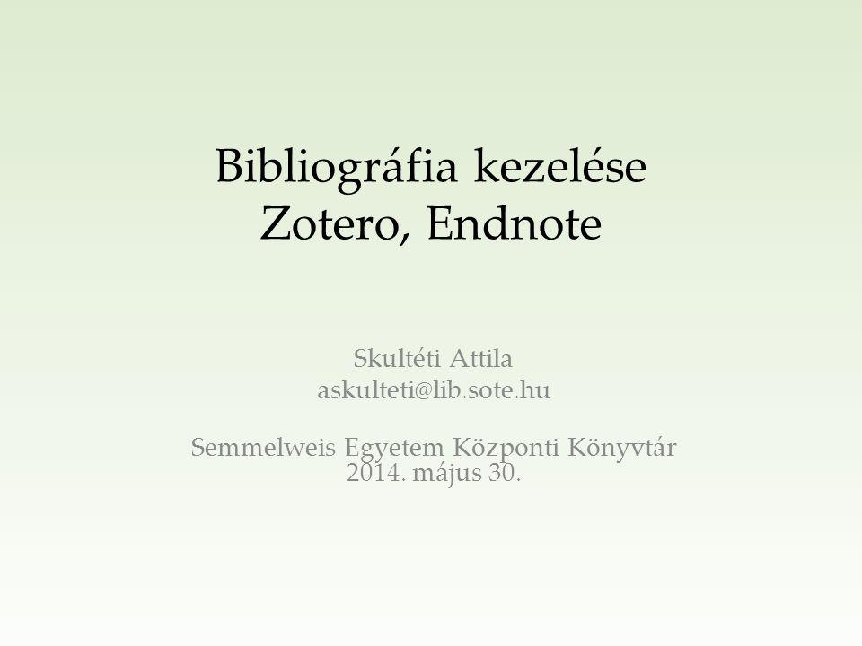 Bibliográfia kezelő alkalmazások jellemzői Megkönnyítik az irodalomkutatást Hivatkozások és irodalom gyűjtése egy adatbázisban Automatizált bibliográfia készítés, valamint hivatkozás kezelés a cikkírás során Több ezer hivatkozási stílus 2/25