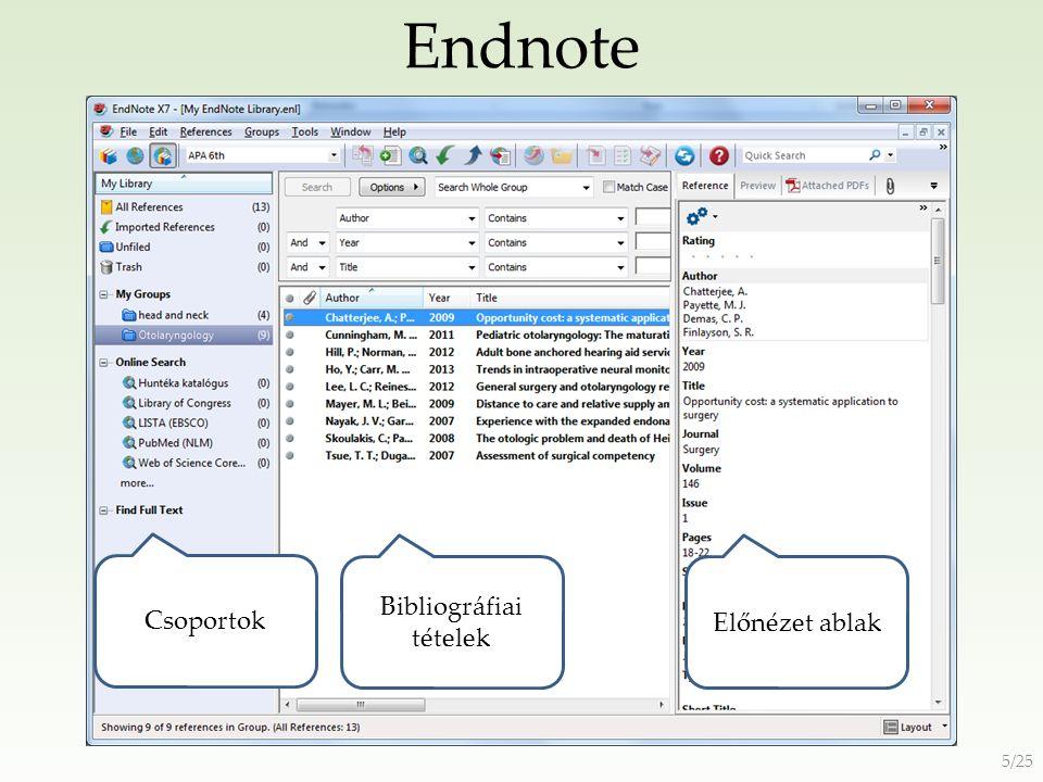 Endnote Online http://www.myendnoteweb.com Új fiók létrehozása 6/25