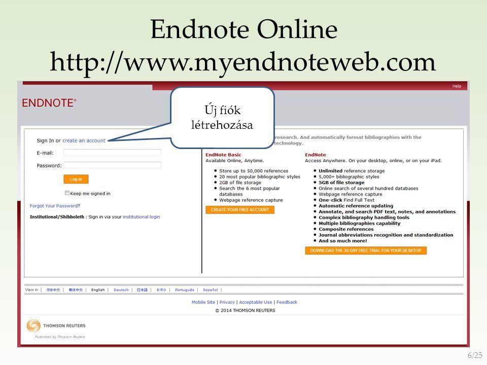 Zotero http://www.zotero.org/ Program letöltése Fiók regisztrálása 17/25