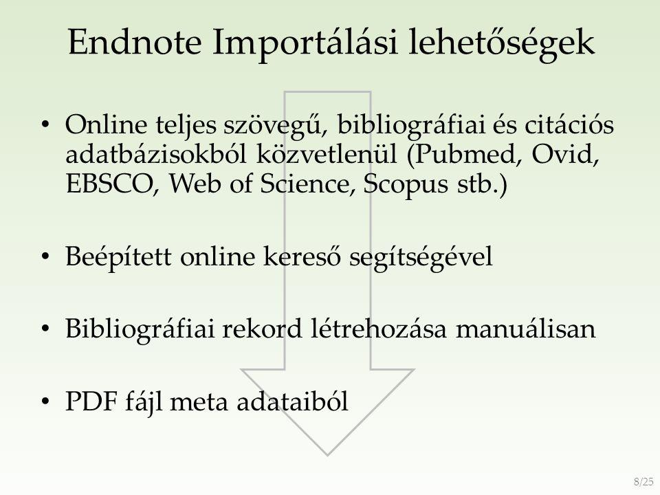 Endnote Importálási lehetőségek 9/25