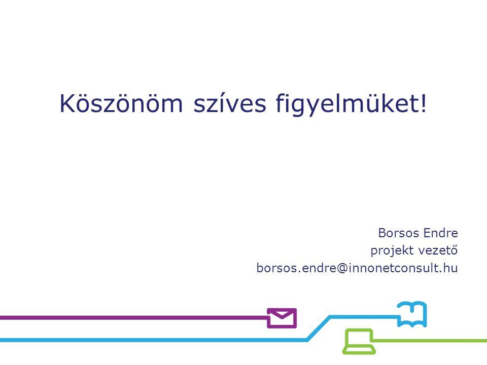 Köszönöm szíves figyelmüket! Borsos Endre projekt vezető borsos.endre@innonetconsult.hu