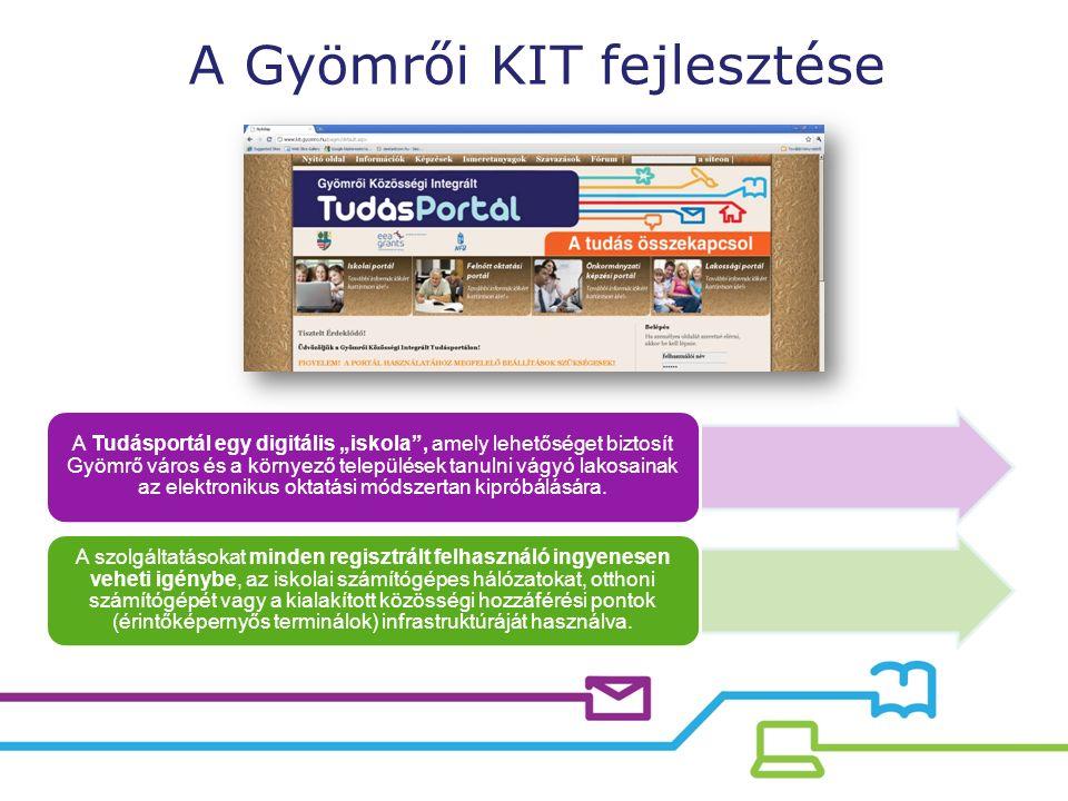 """A Tudásportál egy digitális """"iskola , amely lehetőséget biztosít Gyömrő város és a környező települések tanulni vágyó lakosainak az elektronikus oktatási módszertan kipróbálására."""