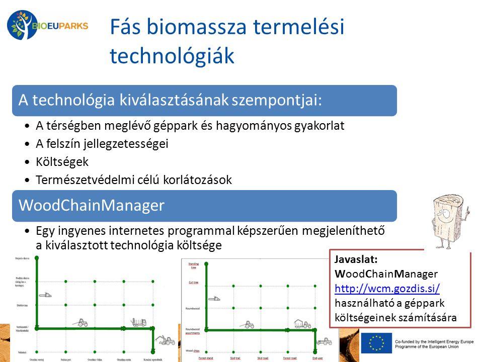 Fás biomassza termelési technológiák A technológia kiválasztásának szempontjai: A térségben meglévő géppark és hagyományos gyakorlat A felszín jellegzetességei Költségek Természetvédelmi célú korlátozások WoodChainManager Egy ingyenes internetes programmal képszerűen megjeleníthető a kiválasztott technológia költsége Javaslat: WoodChainManager http://wcm.gozdis.si/ http://wcm.gozdis.si/ használható a géppark költségeinek számítására