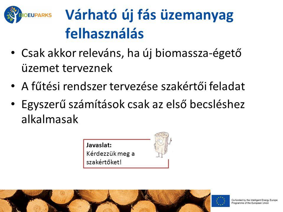 Várható új fás üzemanyag felhasználás Csak akkor releváns, ha új biomassza-égető üzemet terveznek A fűtési rendszer tervezése szakértői feladat Egyszerű számítások csak az első becsléshez alkalmasak Javaslat: Kérdezzük meg a szakértőket!