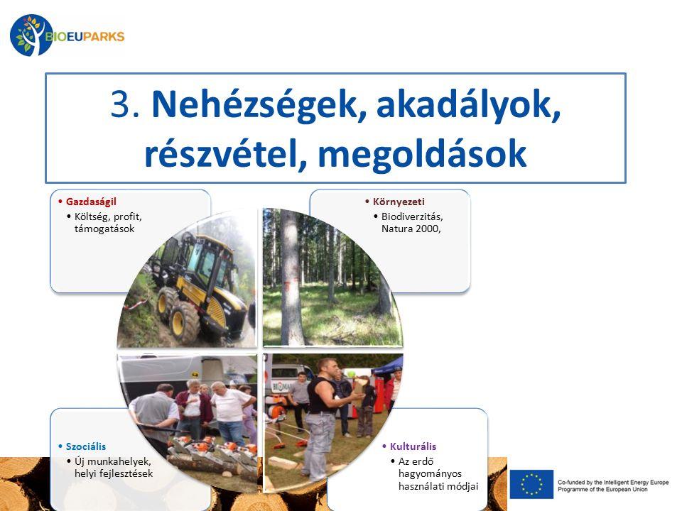 3. Nehézségek, akadályok, részvétel, megoldások Kulturális Az erdő hagyományos használati módjai Szociális Új munkahelyek, helyi fejlesztések Környeze