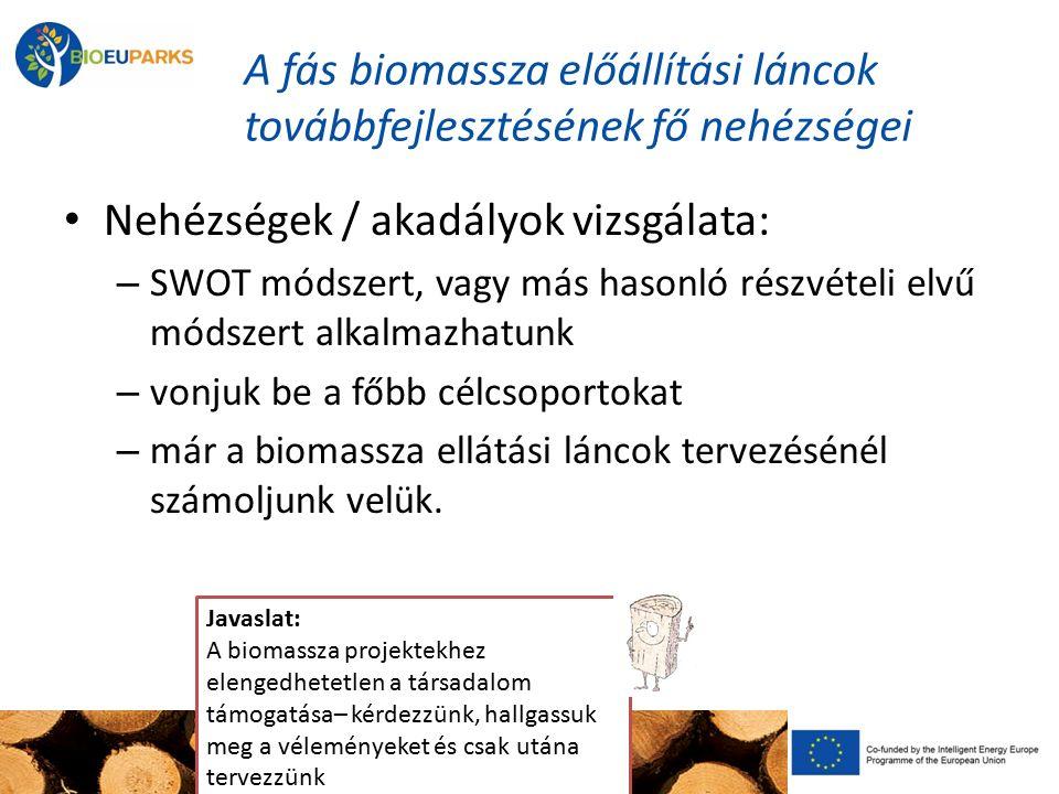A fás biomassza előállítási láncok továbbfejlesztésének fő nehézségei Nehézségek / akadályok vizsgálata: – SWOT módszert, vagy más hasonló részvételi elvű módszert alkalmazhatunk – vonjuk be a főbb célcsoportokat – már a biomassza ellátási láncok tervezésénél számoljunk velük.