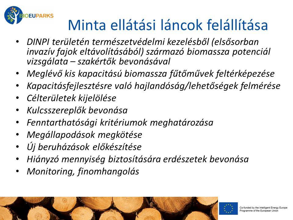 Minta ellátási láncok felállítása DINPI területén természetvédelmi kezelésből (elsősorban invazív fajok eltávolításából) származó biomassza potenciál vizsgálata – szakértők bevonásával Meglévő kis kapacitású biomassza fűtőművek feltérképezése Kapacitásfejlesztésre való hajlandóság/lehetőségek felmérése Célterületek kijelölése Kulcsszereplők bevonása Fenntarthatósági kritériumok meghatározása Megállapodások megkötése Új beruházások előkészítése Hiányzó mennyiség biztosítására erdészetek bevonása Monitoring, finomhangolás