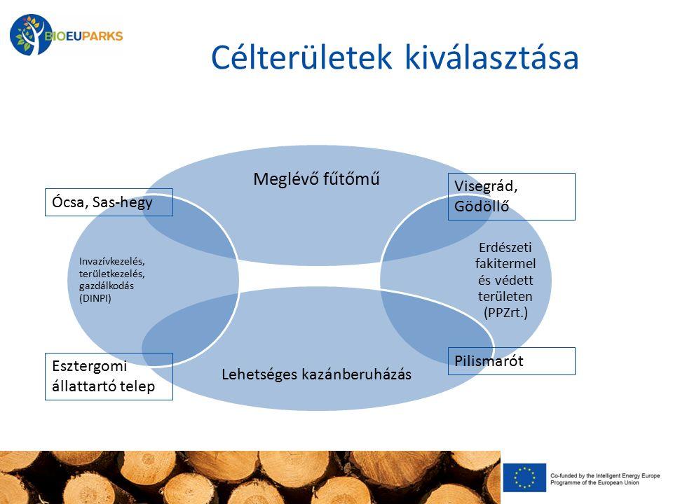 Célterületek kiválasztása Meglévő fűtőmű Erdészeti fakitermel és védett területen (PPZrt.) Lehetséges kazánberuházás Invazívkezelés, területkezelés, g