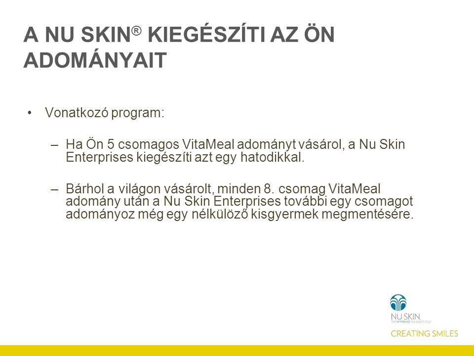 A NU SKIN ® KIEGÉSZÍTI AZ ÖN ADOMÁNYAIT Vonatkozó program: –Ha Ön 5 csomagos VitaMeal adományt vásárol, a Nu Skin Enterprises kiegészíti azt egy hatodikkal.