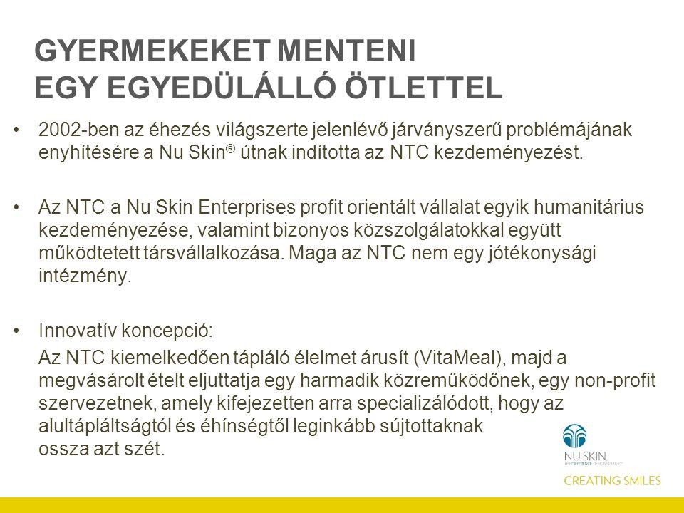 GYERMEKEKET MENTENI EGY EGYEDÜLÁLLÓ ÖTLETTEL 2002-ben az éhezés világszerte jelenlévő járványszerű problémájának enyhítésére a Nu Skin ® útnak indította az NTC kezdeményezést.