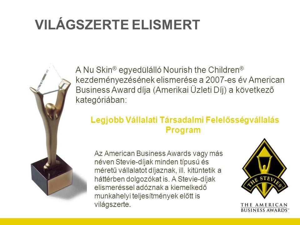 VILÁGSZERTE ELISMERT A Nu Skin ® egyedülálló Nourish the Children ® kezdeményezésének elismerése a 2007-es év American Business Award díja (Amerikai Üzleti Díj) a következő kategóriában: Legjobb Vállalati Társadalmi Felelősségvállalás Program Az American Business Awards vagy más néven Stevie-díjak minden típusú és méretű vállalatot díjaznak, ill.