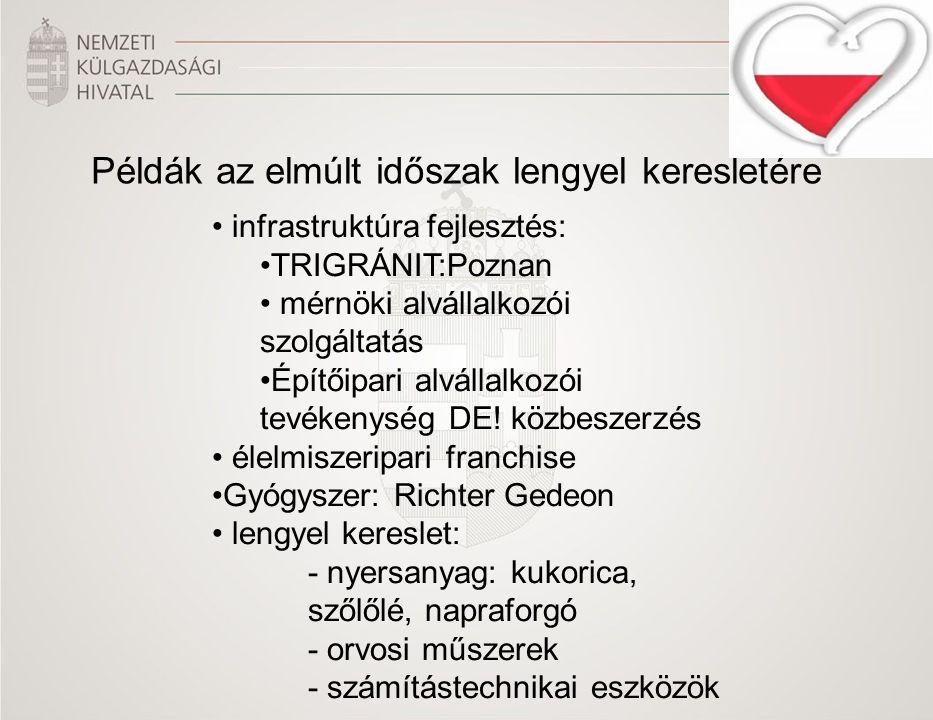 Példák az elmúlt időszak lengyel keresletére infrastruktúra fejlesztés: TRIGRÁNIT:Poznan mérnöki alvállalkozói szolgáltatás Építőipari alvállalkozói tevékenység DE.