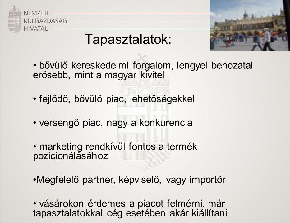 Tapasztalatok: bővülő kereskedelmi forgalom, lengyel behozatal erősebb, mint a magyar kivitel fejlődő, bővülő piac, lehetőségekkel versengő piac, nagy a konkurencia marketing rendkívül fontos a termék pozicionálásához Megfelelő partner, képviselő, vagy importőr vásárokon érdemes a piacot felmérni, már tapasztalatokkal cég esetében akár kiállítani