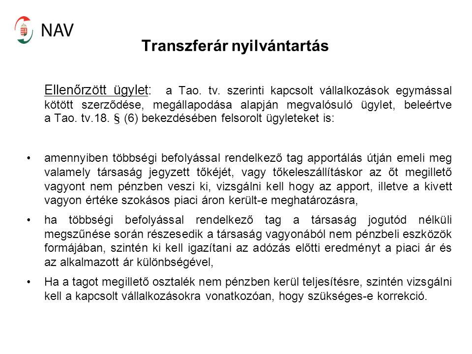 Transzferár nyilvántartás Ellenőrzött ügylet: a Tao.