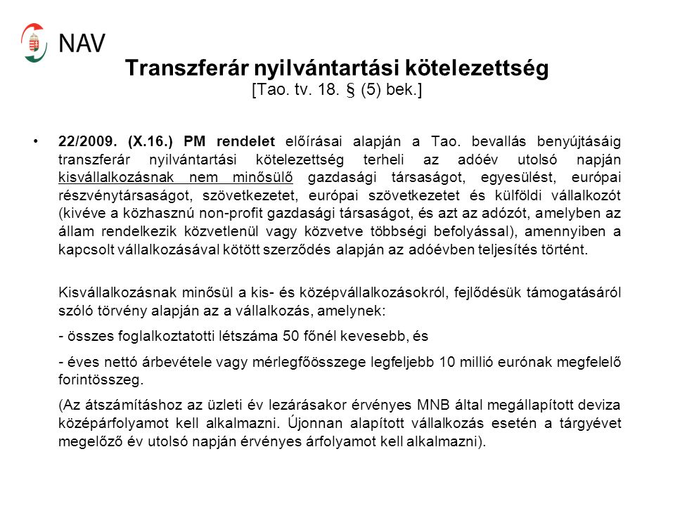 Transzferár nyilvántartási kötelezettség [Tao. tv.