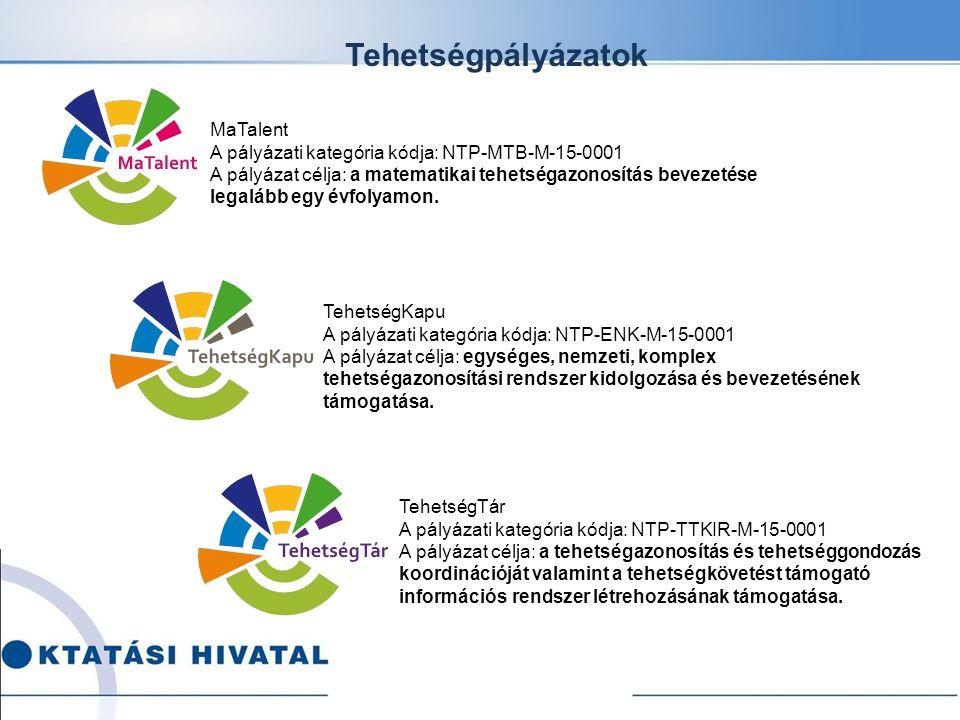 Tehetségpályázatok TehetségTár A pályázati kategória kódja: NTP-TTKIR-M-15-0001 A pályázat célja: a tehetségazonosítás és tehetséggondozás koordinációját valamint a tehetségkövetést támogató információs rendszer létrehozásának támogatása.