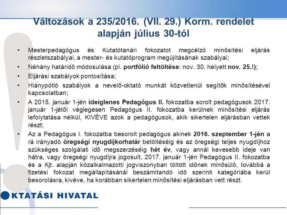 Változások a 235/2016. (VII. 29.) Korm.