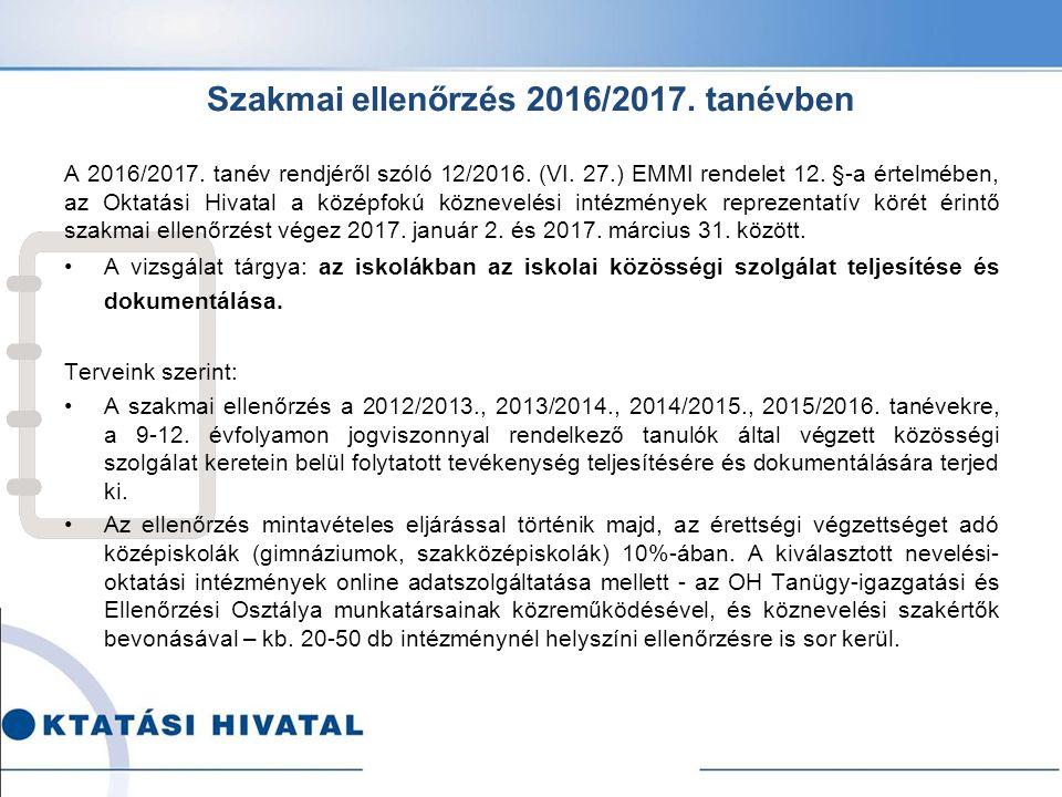 Szakmai ellenőrzés 2016/2017. tanévben A 2016/2017.
