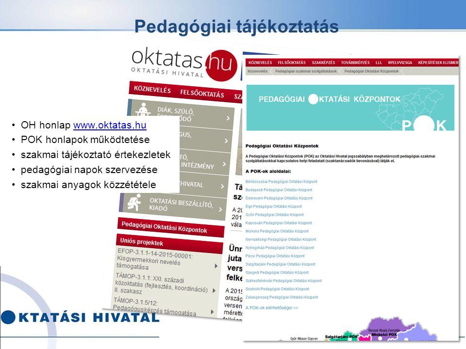 Pedagógiai tájékoztatás OH honlap www.oktatas.huwww.oktatas.hu POK honlapok működtetése szakmai tájékoztató értekezletek pedagógiai napok szervezése szakmai anyagok közzététele