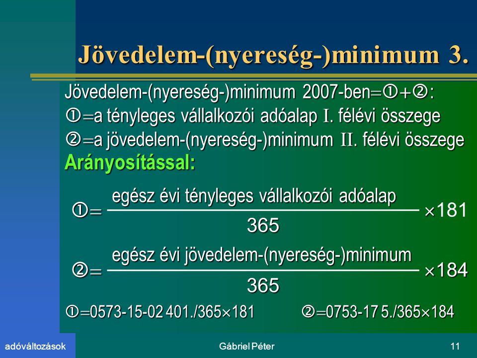 Gábriel Péter11adóváltozások Jövedelem-(nyereség-)minimum 3.