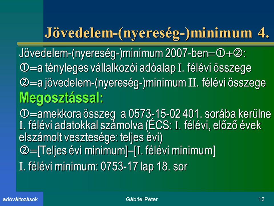 Gábriel Péter12adóváltozások Jövedelem-(nyereség-)minimum 4.
