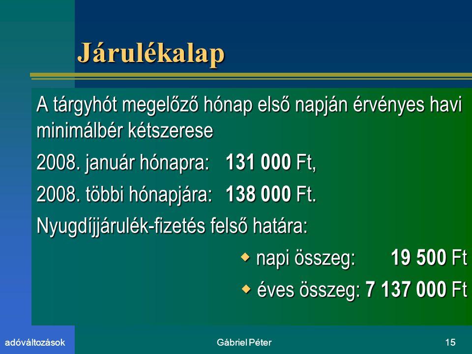 Gábriel Péter15adóváltozások JárulékalapJárulékalap A tárgyhót megelőző hónap első napján érvényes havi minimálbér kétszerese 2008.