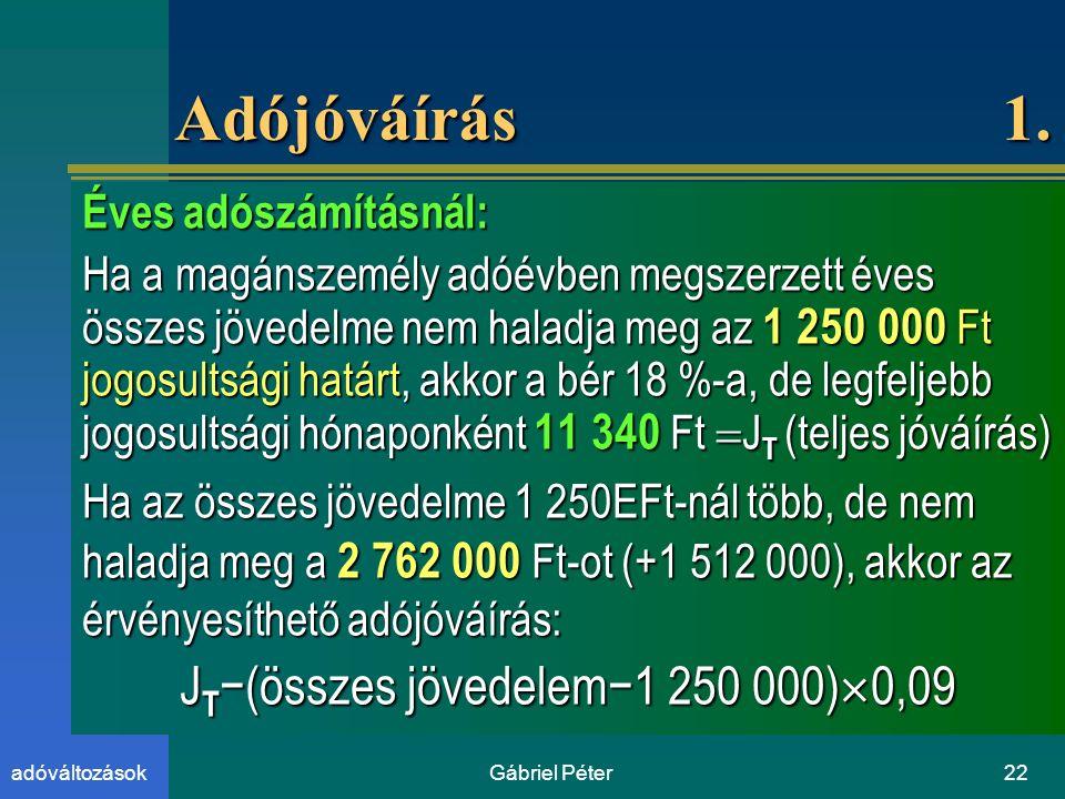 Gábriel Péter22adóváltozások Adójóváírás 1.
