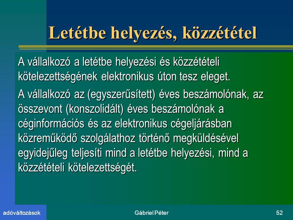 Gábriel Péter52adóváltozások Letétbe helyezés, közzététel A vállalkozó a letétbe helyezési és közzétételi kötelezettségének elektronikus úton tesz eleget.