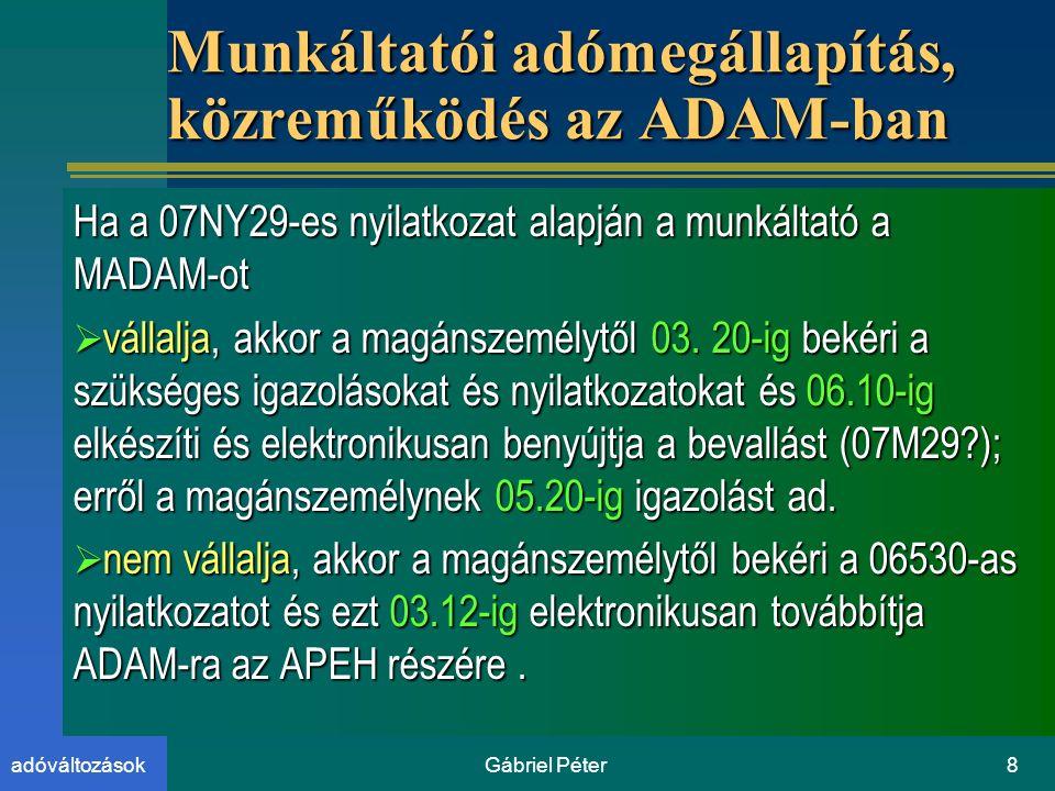 Gábriel Péter8adóváltozások Munkáltatói adómegállapítás, közreműködés az ADAM-ban Ha a 07NY29-es nyilatkozat alapján a munkáltató a MADAM-ot  vállalja, akkor a magánszemélytől 03.