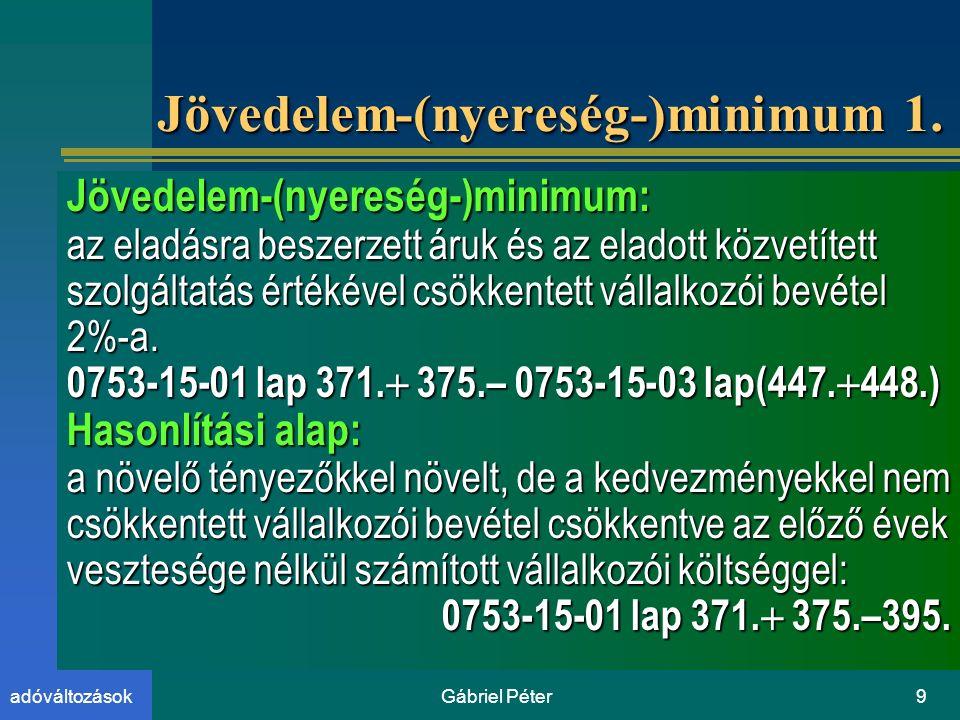 Gábriel Péter9adóváltozások Jövedelem-(nyereség-)minimum 1.