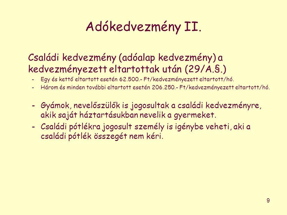 Adókedvezmény II.