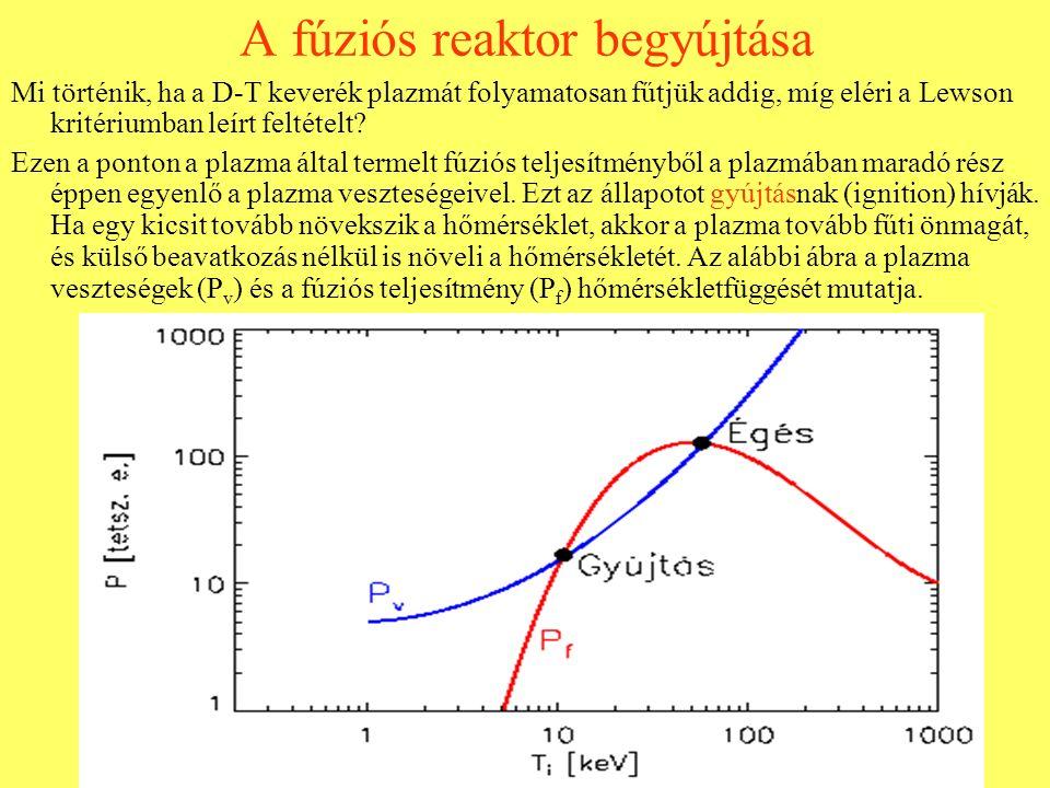 A fúziós reaktor begyújtása Mi történik, ha a D-T keverék plazmát folyamatosan fűtjük addig, míg eléri a Lewson kritériumban leírt feltételt? Ezen a p