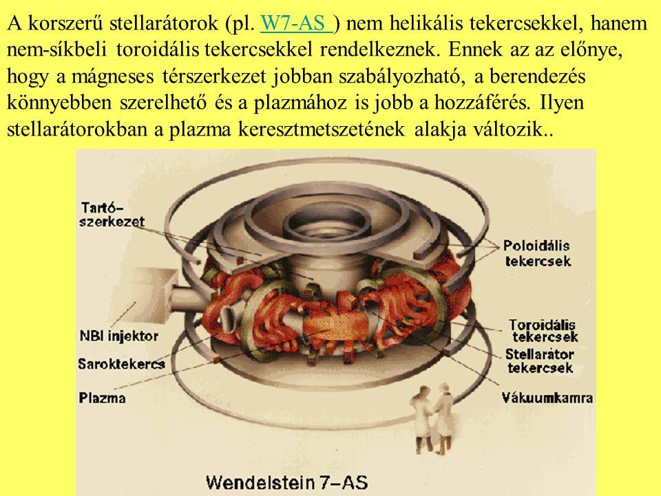 A korszerű stellarátorok (pl. W7-AS ) nem helikális tekercsekkel, hanem nem-síkbeli toroidális tekercsekkel rendelkeznek. Ennek az az előnye, hogy a m