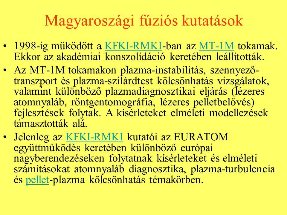 Magyaroszági fúziós kutatások 1998-ig működött a KFKI-RMKI-ban az MT-1M tokamak. Ekkor az akadémiai konszolídáció keretében leállították.KFKI-RMKIMT-1
