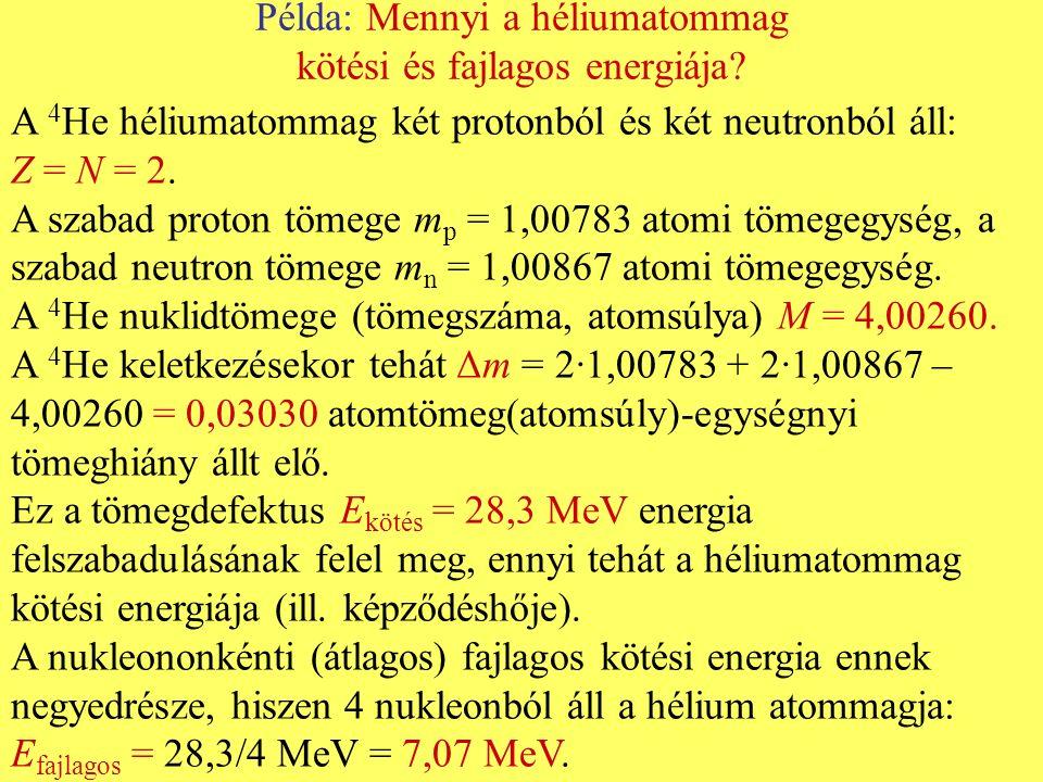 Kötési energia létra 1 meV 1 eV 1 keV 1 MeV 10 100 Termikus energia, ½ k B T, (25 meV szobahőmérsékleten) Foton energiája, hν Atomok kötési energiája molekulákban Az elektron kötési energiája az elektronburok külső héjában Az elektron kötési energiája a legnagyobb rendszámú (U) elem legbelső (K) héjában Nukleononkénti kötési energia a 4 He atommagjában (7.07 MeV) 1 eV = 1.6·10 -19 J Coulomb-gát a legkönnyebb elemek fúziós magreakcióihoz