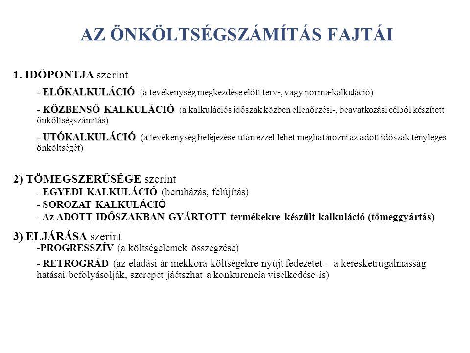 AZ ÖNKÖLTSÉGSZÁMÍTÁS FAJTÁI 1.