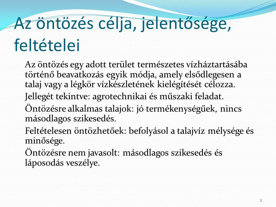 Felületi öntözés Módszerei: Árasztó öntözés Sávos (csörgedeztető) öntözés Barázdás áztató öntözés Zárt vezetékes (tömlős) öntözés Öntözőgépes öntözés 23