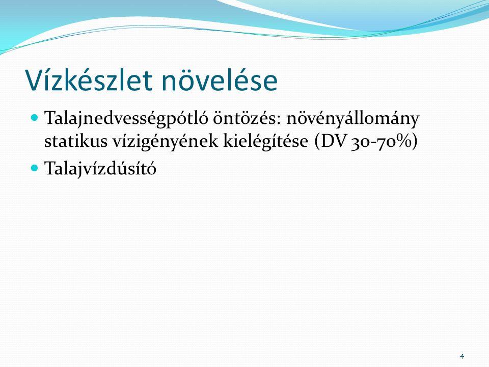 Vízkészlet növelése Talajnedvességpótló öntözés: növényállomány statikus vízigényének kielégítése (DV 30-70%) Talajvízdúsító 4