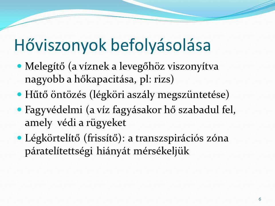 Hőviszonyok befolyásolása Melegítő (a víznek a levegőhöz viszonyítva nagyobb a hőkapacitása, pl: rizs) Hűtő öntözés (légköri aszály megszüntetése) Fagyvédelmi (a víz fagyásakor hő szabadul fel, amely védi a rügyeket Légkörtelítő (frissítő): a transzspirációs zóna páratelítettségi hiányát mérsékeljük 6