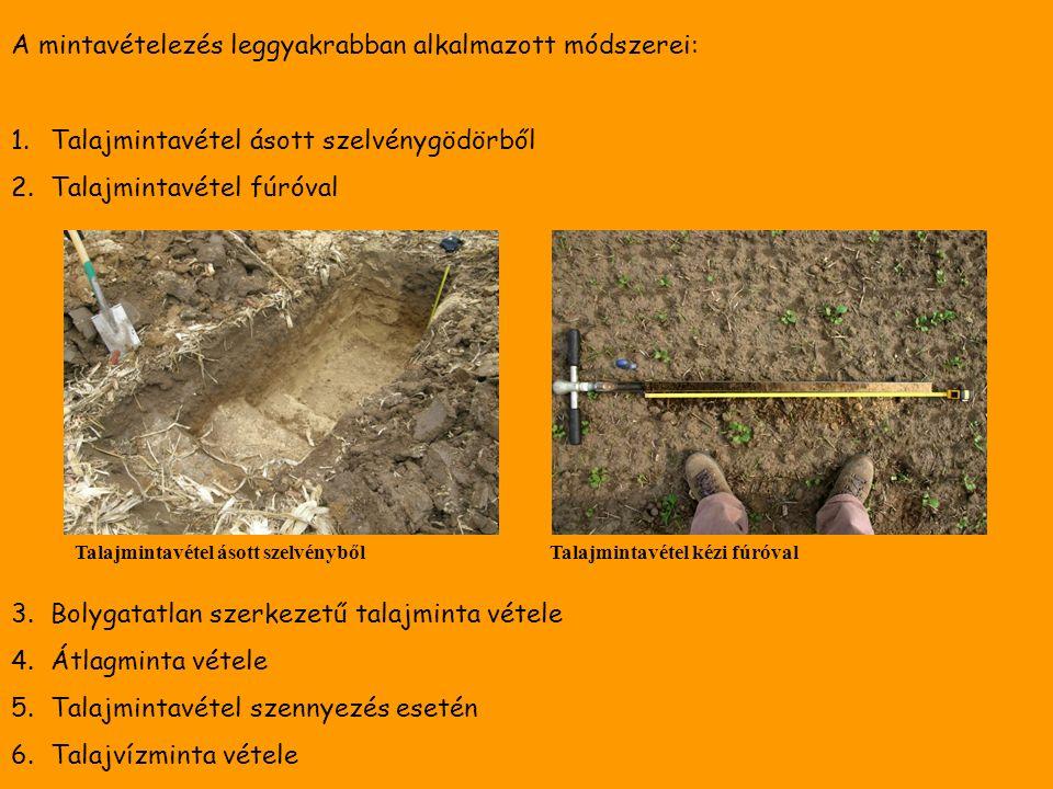 A mintavételezés leggyakrabban alkalmazott módszerei: 1.Talajmintavétel ásott szelvénygödörből 2.Talajmintavétel fúróval 3.Bolygatatlan szerkezetű talajminta vétele 4.Átlagminta vétele 5.Talajmintavétel szennyezés esetén 6.Talajvízminta vétele Talajmintavétel ásott szelvénybőlTalajmintavétel kézi fúróval