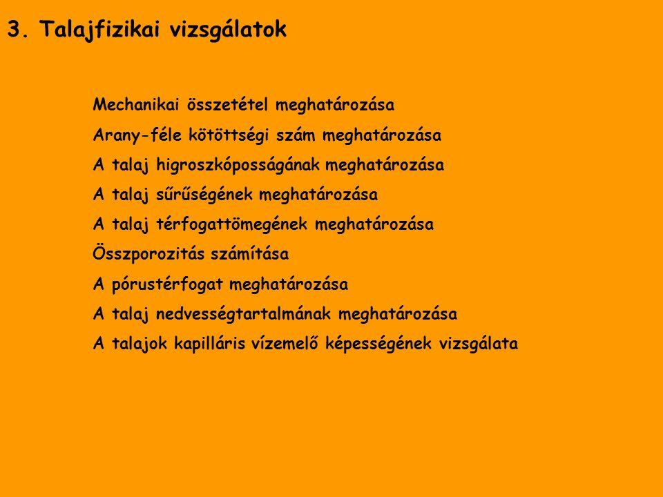 3. Talajfizikai vizsgálatok Mechanikai összetétel meghatározása Arany-féle kötöttségi szám meghatározása A talaj higroszkóposságának meghatározása A t