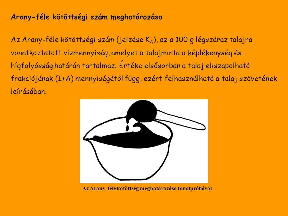 Arany-féle kötöttségi szám meghatározása Az Arany-féle kötöttségi szám (jelzése K A ), az a 100 g légszáraz talajra vonatkoztatott vízmennyiség, amelyet a talajminta a képlékenység és hígfolyósság határán tartalmaz.