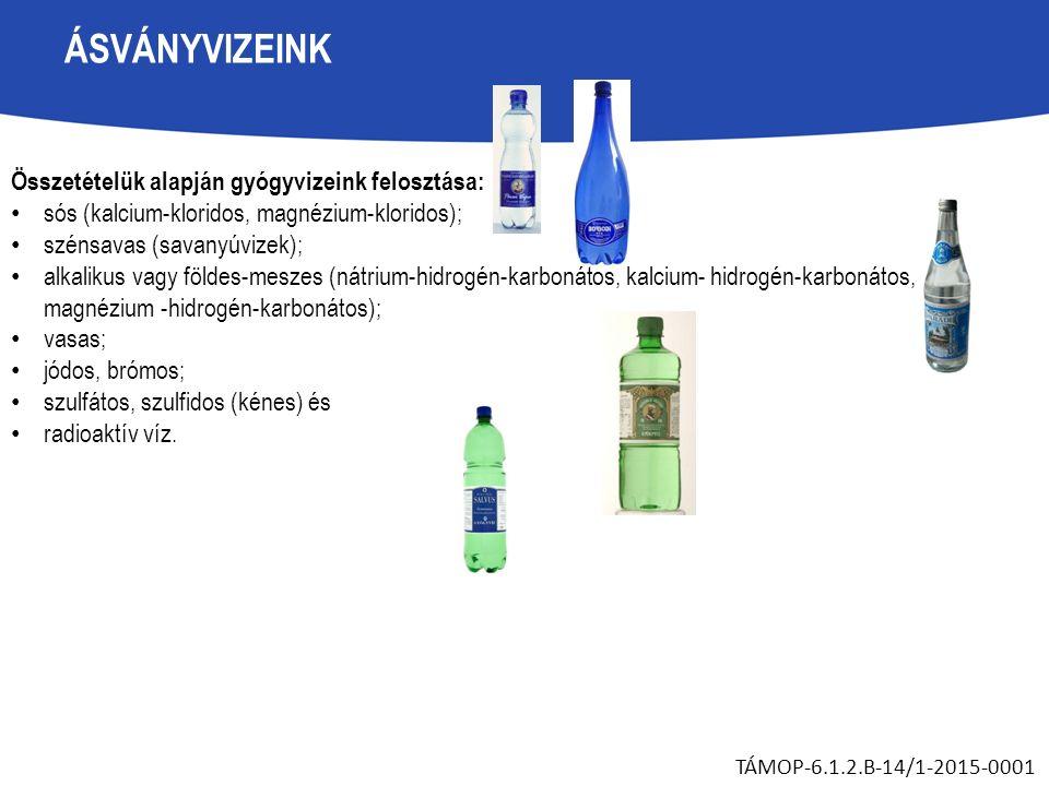 ÁSVÁNYVIZEINK Összetételük alapján gyógyvizeink felosztása: sós (kalcium-kloridos, magnézium-kloridos); szénsavas (savanyúvizek); alkalikus vagy földes-meszes (nátrium-hidrogén-karbonátos, kalcium- hidrogén-karbonátos, magnézium -hidrogén-karbonátos); vasas; jódos, brómos; szulfátos, szulfidos (kénes) és radioaktív víz.
