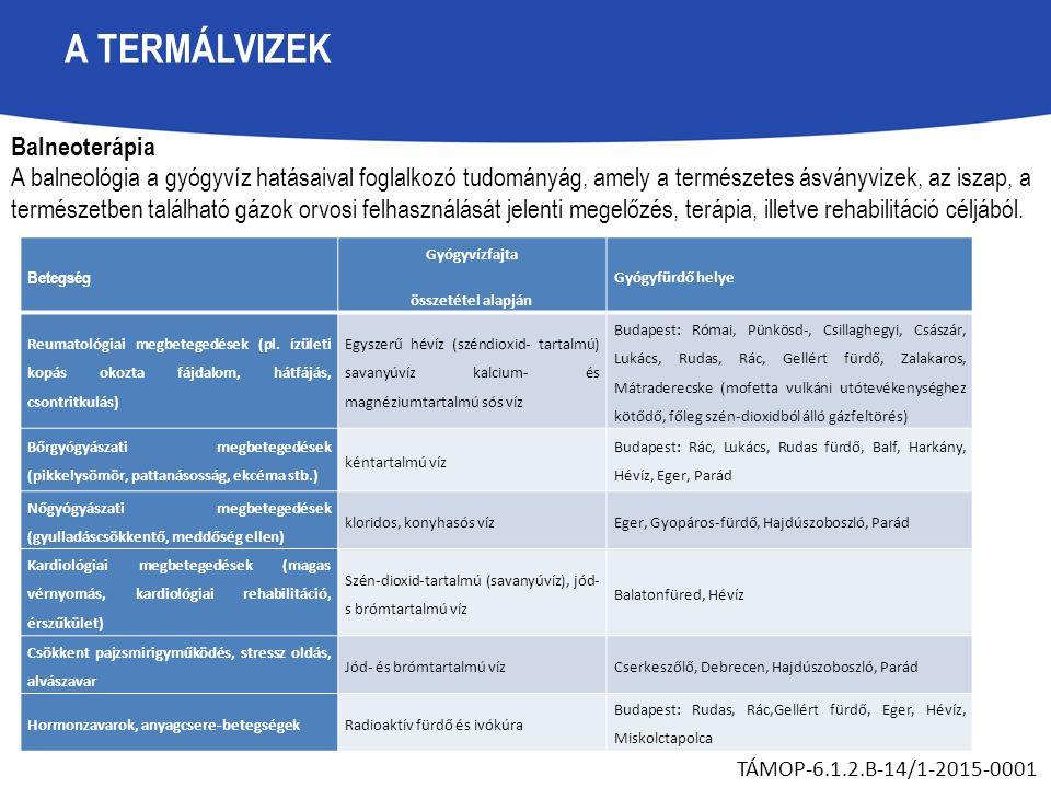 A TERMÁLVIZEK TÁMOP-6.1.2.B-14/1-2015-0001 Betegség Gyógyvízfajta összetétel alapján Gyógyfürdő helye Reumatológiai megbetegedések (pl.