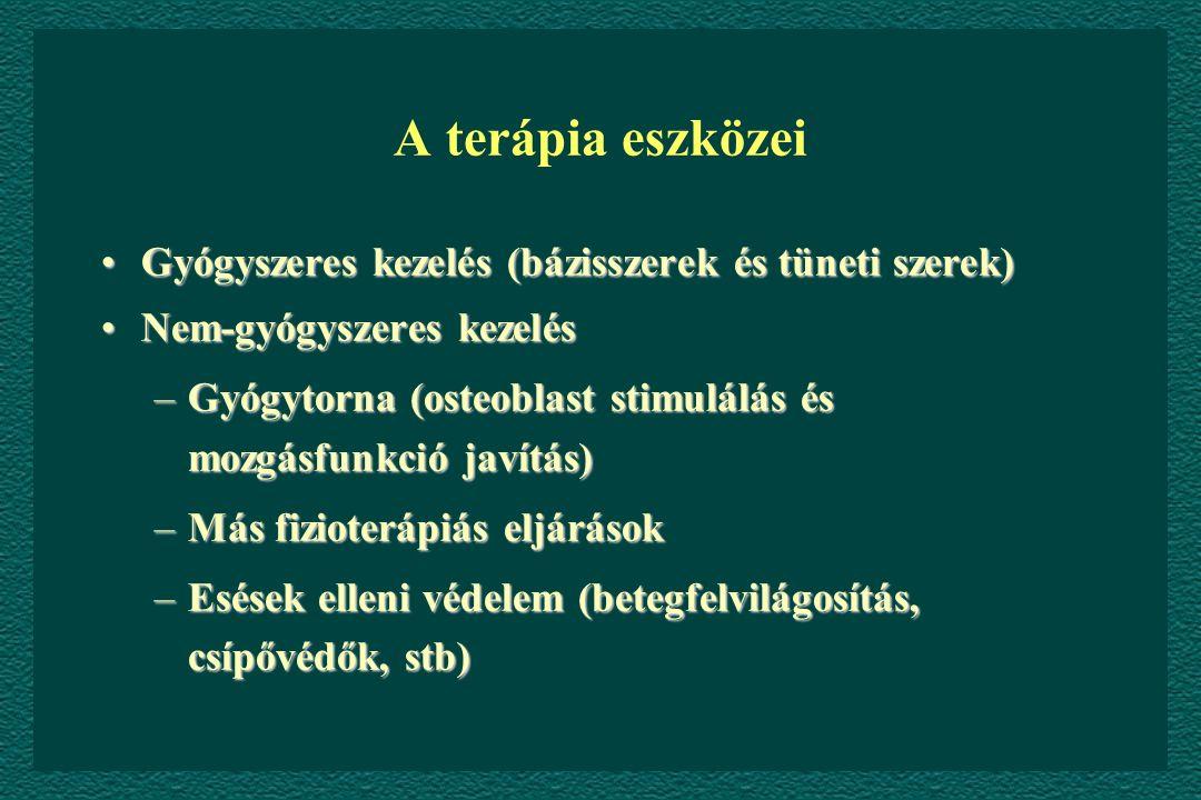 A terápia eszközei Gyógyszeres kezelés (bázisszerek és tüneti szerek)Gyógyszeres kezelés (bázisszerek és tüneti szerek) Nem-gyógyszeres kezelésNem-gyógyszeres kezelés –Gyógytorna (osteoblast stimulálás és mozgásfunkció javítás) –Más fizioterápiás eljárások –Esések elleni védelem (betegfelvilágosítás, csípővédők, stb)