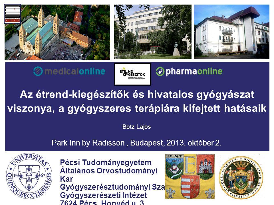Az étrend-kiegészítők és hivatalos gyógyászat viszonya, a gyógyszeres terápiára kifejtett hatásaik Botz Lajos Park Inn by Radisson, Budapest, 2013.