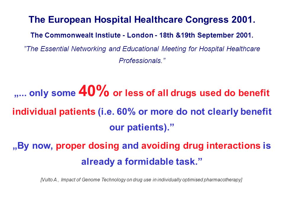 The European Hospital Healthcare Congress 2001.